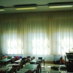 Tenda arricciata con tessuto ignifugo per scuola